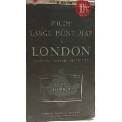 PHILIPS' NEW LARGE PRINT MAP of LONDON and ITS OUTER DISTRICTS