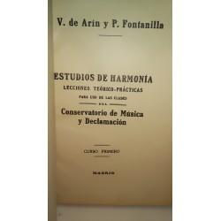 ESTUDIOS DE HARMONÍA Lecciones Teórico Prácticas para Uso de las Clases del Conservatorio de Música y Declamación